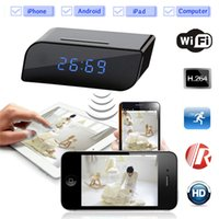 Wholesale 32GB Wireless Wifi IP P HD Clock Spy Hidden Camera IR Security Network Web Cam DVR Home Security Surveillance Camcorders Video Recorder