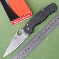 Wholesale Spyderco C81 Pocket EDC Tool Folding Knife Blade Sanding Surface S30V Blade Camping Climbing Carbon Fiber Handle