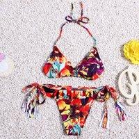amazing swimwear - 2016 Sexy Bikini Amazing Styles Environmental Protection Material Floral Pattern Two Sides With Tassel Pendant Swimwear SS020