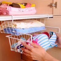 basket storage organizer drawer - 1 Layer Under Shelf Holder Drawer Kitchen Hanging Cabinet Rack Home Book Magezine Storage Organizer Basket Housekeeping Supplies