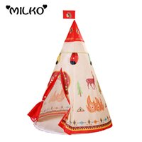 Wholesale Natural Indian Pattern Children Toy Teepee Safety Portable Playhouse Kids Indoor Game Room Outdoor Tourist Playpens Tente Enfant