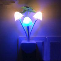 Wholesale LED Mushroom Night Light colorful small night light led light night lamp plug energy saving wall lamp bedroom bedside lighting gadget