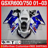 gsxr 600 fairing - 8gifts Blue white For SUZUKI GSXR600 GSXR750 GSXR GSX R600 R750 K1 GSXR Factory blue white Fairing