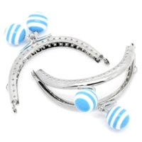 Wholesale 3PCs Bag Purse Frame Clasp Resin Ball Blue Stripes Silver Tone x7cm B32324 frame flowers frame magnet