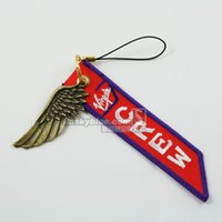 airline wings - Fashion Jewelry Key Chains Virgin Airline Mobile Phone Strap Chain with Metal Wing Red amp White Gift for Aviation Lover Flight Crew