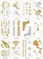 flashing christmas jewelry - Flash Tattoo Metallic Tattoo Jewelry Fashion Women Gold Body Art Waterproof Temporary Tattoos Sexy Tattoo Paste Styles TA007