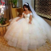 Wholesale Vestidos Gothic New Collection Ball Gown Puffy Lace Sheer Vintage Arabic Style Amazing Elegance Wedding Bridal Dresses