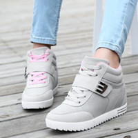 Wholesale Hot Sale Fashion Magic Stick Wedge Women Shoes for Hidden High Heel Outdoor Women Sport Shoes High Top Casual Shoes