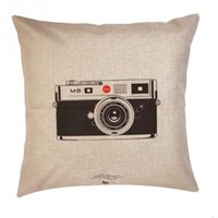 Wholesale 18x18 Inch Cotton Linen Throw Pillow Cover Cushion Case Vintage cameras Pattern