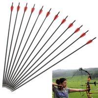 Wholesale 12 Whole Archery Hunter Nocks Fletched Arrows Fiberglass Target Bow Practice Crossbow Bolt Outdoor Sport