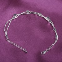 anklets for sale - Fashion Romantic Double Layer Silver Plated Square Anklet For Women Gift Hot Sale Link Alloy Foot Jewelry