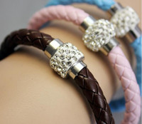 Wholesale Daily Deals PU Braid Leather Bracelet For Women Handmade Fit White Crystal Shamballa Bead Bracelet With Clasp15 Colors Can Be Mixed Color
