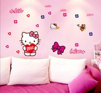 american car classics - DHL Factory Direct Cat Cartoon Wall Stickers Kid Room Home Decoration Car WallPaper Cartoon Removable CM