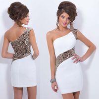 Wholesale 2016 Single Shoulder Evening Gowns Sequins Slim Perspective Sheer Gauze Party Dresses Short White Sheath Patchwork Formal Dresses HXH7