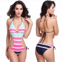 Cheap Sexy One Piece Swimwear!Nylon Lycra Composited Striped Fabric Removable Push up Padding 2016 Fashion Strappy Female One piece swimsuit