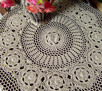 Wholesale Elegant Flower Lace Crochet Blends Table Cover Handmade Home Dinner Round Tablecloth