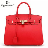 Wholesale New Arrival Cappuccino Top Grian Genuine Leather Fashion Bags High Quality Elegant Lady Leather Tote Bag KJDL9004