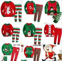 Wholesale 14 Styles New Christmas Pajamas Long Sleeve Pyjamas Boy Girl Autumn Winter sleepwear pieces outfit sets Xmas kids clothes clothing