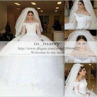 Wholesale 2016 Princess Muslim Arabic Wedding Dresses Ball Gown Bateau Lace Long Sleeves Dubai Royal Bridal Gowns Puffy Tulle Skirt Vestido De Novia