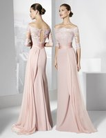 bandage dresses online - Online Skin Pink Evening Dress Half Sleeves Chiffon Floor Length Off Shoulder Lace Women Party Gown Fashion