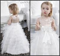 beautiful unique wedding dresses - Wedding Dresses Unique Design Appliques Beautiful Tiered Skirts Tulle Dresses Elegant Little Formal Dresses Birthday Communion Dresses