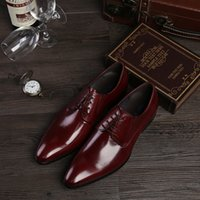 basic shoe design - 2016 Basic Men s Genuine Leather Shoes Wedding Dress Formal Business Derby Shoes Pointed Toe colors Brandy Design