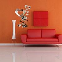 Wholesale Modern Design D DIY Love Heart Clock Mirror Wall Sticker Modern Bedroom Home Decor Decal New Excellent Quality