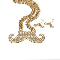 Wholesale Hot Sale Rhinestone Mustache Pendant Chunky Chain Necklace and Drop Earrings Jewelry Set