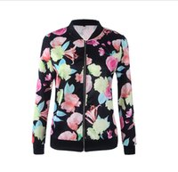 Wholesale Fashionable Turn down Collar Long Sleeve Belt Zipper Type Runway Print Jacket Women Baseball Floral Coats Outwear National Style Bomber Jack