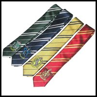Wholesale Hogwarts School Harry potter tie gryffindor Slytherin Ravenclaw Hufflepuff badge ties necktie Neckwear for men women statement