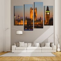 art house architecture - 4 Pieces Canvas Painting Wall Art For Home Decoration Big Ben House Of Parliament Westminster Bridge Dusk London Architecture