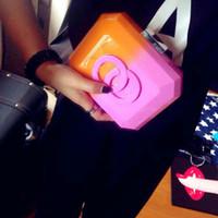 acrylic logos - Fashion Famous Brand Designer Acrylic Patchwork CC Clutch Brick Evening Bag Women Ladies Plastic Perfume Handbag with Logo Purse SP