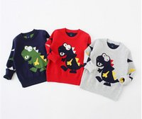 Wholesale New Girls Fashion Autumn Sweaters Long Sleeve Disnosaur Christmas Kids Casual Tops Children s Outerwear Boy Clothing Red