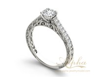 antique white gold ring - fancy saudi arabia gold plated silver value hollow luxury engrave modest shape antique engagement rings set BER0594
