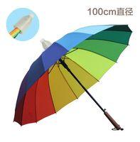 auto stick umbrella - Wooden Stick Umbrella Ribs Rainbow Umbrella for Men and Women Auto Open With Waterproof Cover