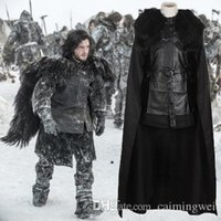 Wholesale Halloween Costumes Game Of Thrones V Cosplay Jon Snow Cosplay Fancy Farty Men Outfit Vest Skirt Cloak Belt