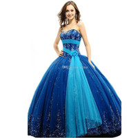 Wholesale Hot Sale Graceful Sweet New Strapless Sweetheart Blue Quinceanera Dresses Tulle Quinceanera Gowns Custom Size