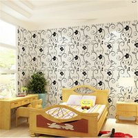 Wholesale PVC Waterproof Wallpapers Flowers Mould Proof Simple Europe Plant Wallpapers Murals White Black Wallpapers for Furniture Wall