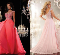 beautiful stores - Sexy Beautiful Cheap Long Prom Dresses Stores Sweetheart Cap Sleeves A Line Sweep Train Crystal Beads Chiffon Evening Party Dresses