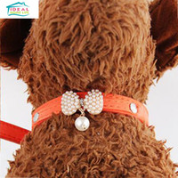 Wholesale Cute Pearl Pendant Bow Pet Dog Collars Adjustable Buckle PU Leather Pet Cat Puppy Collar Necklace