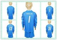 Wholesale Customize Uniforms Kit Youth Kids Real Madrid soccer Jersey NAVAS K Casilla R YANEZ Blue Goalkeeper Long Sleeve Jersey