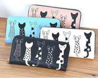 Wholesale Women Cartoon Cat Wallet Long Creative PU Leather Purse Female Card Holder Casual Zipper Ladies Clutch Coin Purse
