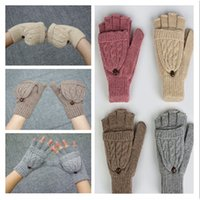 Wholesale Warm women s wool gloves Fingerless Gloves thicker warm gloves winter gloves Double use gloves with cover gloves A0323