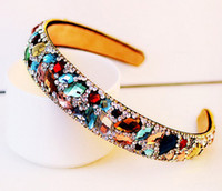 Wholesale New Hot Selling Korean Ladies Hair Accessories Luxury Colorful Crystal Hairbands Rhinestone Headbands For Women Hair Jewelry