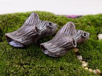 antique china figurines - 6pcs Artificial mini dead wood stump fairy garden miniatures gnome moss terrariums resin crafts figurines for home decoration