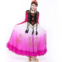 Wholesale Xinjiang female costumes dance costumes Uygur ethnic Handmade Beaded ray gradient