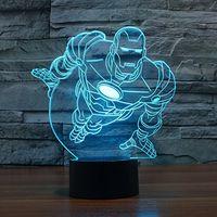 Wholesale SmartEra D Optical Illusion Iron Man Standing Posture Panel Model Lighting Night Color Change USB Touch button LED Desk Table Light Lamp