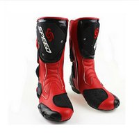 Wholesale 2015 fashion leather motorcycle boots Pro Biker SPEED boots for motorcyle Racing Motocross Boots BLACK RED WHITE