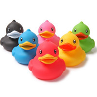 Wholesale 2016 New set Colorful Soft Rubber Float Squeeze Sound Squeaky Bath Toy Classic Rubber Duck Plastic Bathroom Swimming Toys