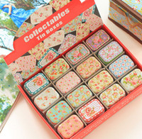 Wholesale New vintage small Flower series quality iron case storage case tin box